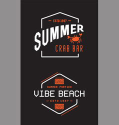 summer retro logo template for banner poster flyer vector image