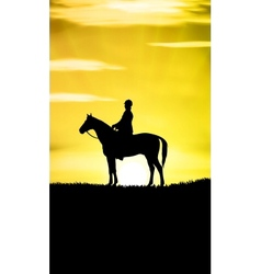 Sunset Horse Ride vector image