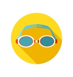 Swimming goggles flat icon with long shadow vector