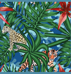 tiger leopard tropical leaves lily seamless camo vector image