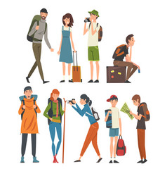 tourists travelling set people having summer vector image