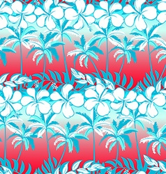 Tropical palm tree with hibiscus flowers and palms vector image