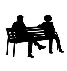 two persons silhouettes sitting on a bench vector image