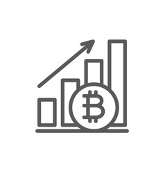 upward graph bitcoin coin cryptocurrency line vector image