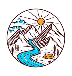 views mountains and rivers vector image
