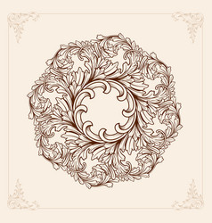 Vintage mandala with floral element ornament vector