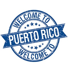 Welcome to Puerto Rico blue round ribbon stamp vector