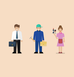 White blue and pink collar workers vector