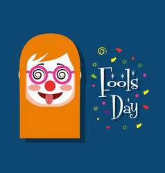 woman face with clown mask tongue out funny fools vector image