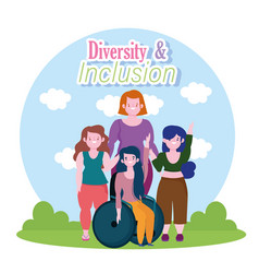 woman on wheelchair and short and tall women vector image