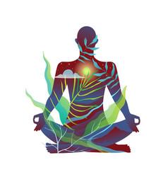 yoga lotus pose human unisex figure meditating in vector image