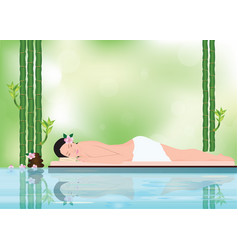 young beautiful woman relaxing in spa environment vector image