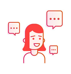young woman or girl with speech bubble avatar vector image