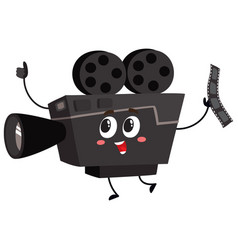 cute funny vintage film camera character with vector image vector image