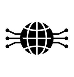 electronic circuit globe icon minimal pictogram vector image