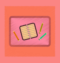 Flat shading style icon notebook pencil table vector