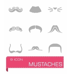 Mustaches icon set vector image