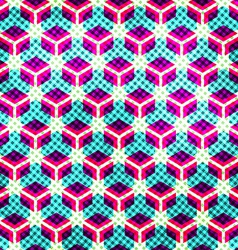 Neon grid seamless pattern with grunge effect vector