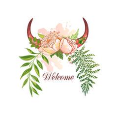 watercolor deer horns with flowers vector image