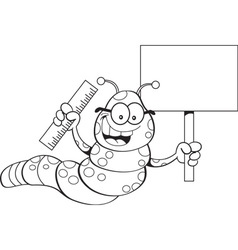 Cartoon inch worm holding a sign and a ruler vector image