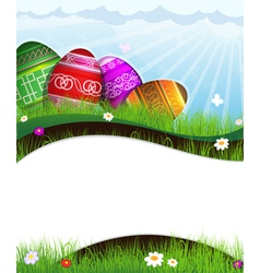 Colorful easter eggs in grass vector