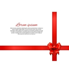 Gift card with red bow and ribbon vector image