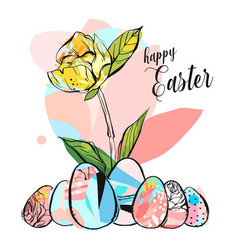 hand drawn abstract creative happy easter vector image vector image