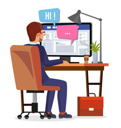 man communicates on internet personal vector image vector image