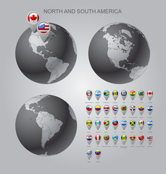 map marker with flags north and south america vector image