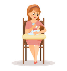 mother feeds baby from bottle vector image