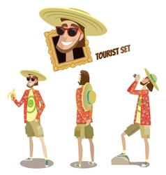 Set of tourists vector