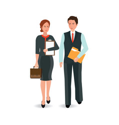 young business man and woman in suit walking vector image vector image