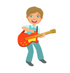 boy playing electric guitar kid performing on vector image vector image