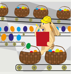 easter bunny counts the eggs on the conveyor belt vector image