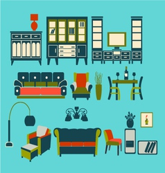 flat interior Living Furniture vector image vector image