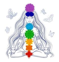Girl with 7 chakras vector image
