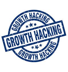 Growth hacking blue round grunge stamp vector