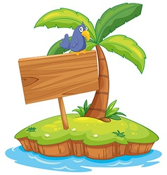 Island scene with bird on wooden sign vector image