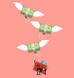 money bill characters flying out of pitying vector image