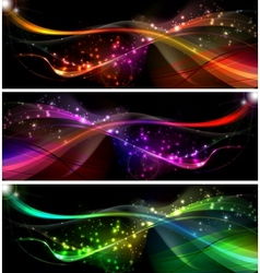 neon wave Set vector image