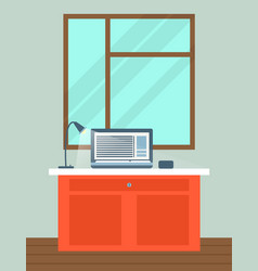 office interior with laptop on table vector image