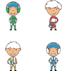 racer boys doodle collection vector image vector image