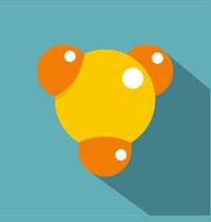 yellow molecule icon flat style vector image vector image