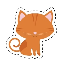 cat feline curious small cut line vector image vector image
