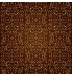 Floral vintage seamless pattern on brown vector image vector image