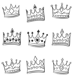 hand draw crown style of doodles vector image vector image