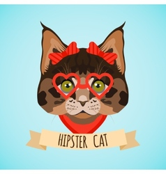Hipster cat portrait vector image vector image