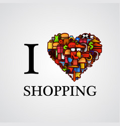 i love shopping font type with heart sign vector image