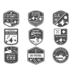 Ski Club Patrol Campsite Labels Collection vector image vector image