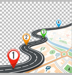 timeline road infographics with pin pointers vector image